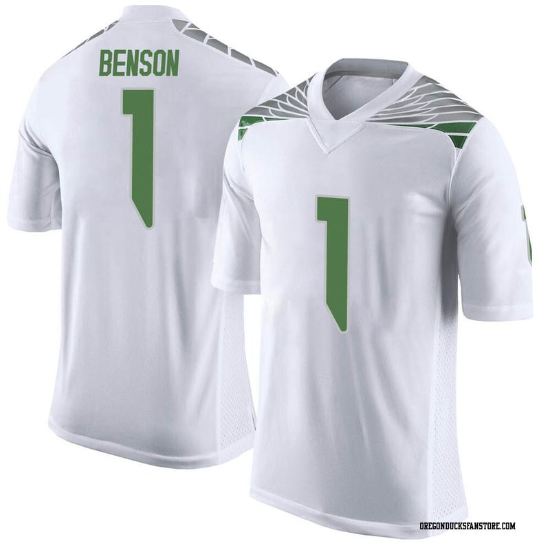 Limited Men's Trey Benson Oregon Ducks White Football College Jersey