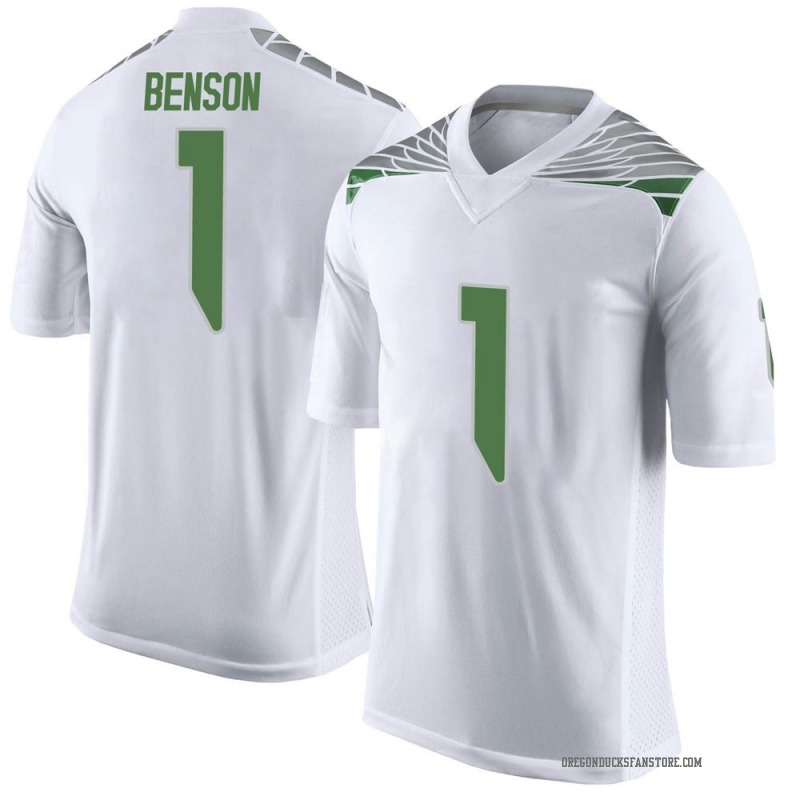 Limited Youth Trey Benson Oregon Ducks White Football College Jersey