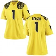 Replica Women's Trey Benson Oregon Ducks Gold Football College Jersey