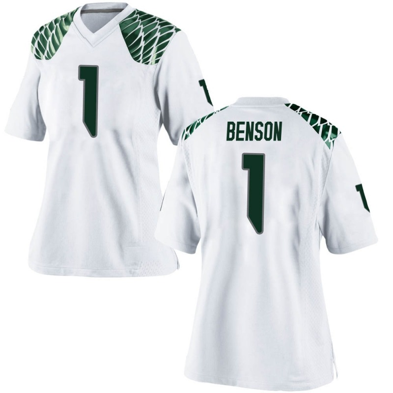 Replica Women's Trey Benson Oregon Ducks White Football College Jersey